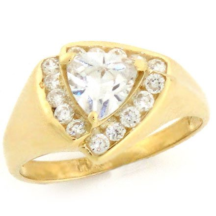 9ct Solid Gold Channel-set Triangle CZ Ring Jewellery