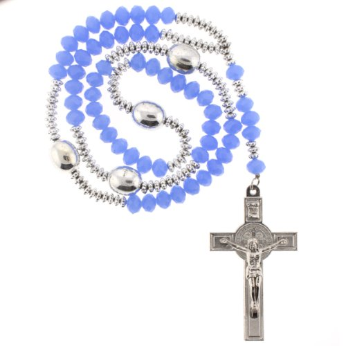 Royal Blue Rhinestone Crystal Rosary With Faceted Rondell Beads in 10x8mm, 3