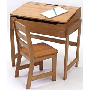 Lipper International Childs Slanted Top Desk And Chair - Pecan from Lipper