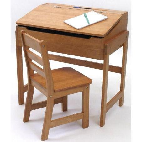 Lipper International Child's Slanted Top Desk And Chair - Pecan