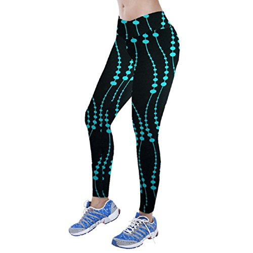 Lookatool Women High Waist Fitness Yoga Sport Pants Nine Points Leggings (M, Blue)