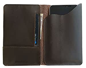 Chalk Factory Genuine Leather Case, cover cum Wallet for Good One J-5 3G 5 inch Android Lolipop in Silver Colour Mobile Phone (#PP, Brown)
