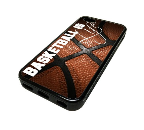 Apple iPhone 5 or 5S Case Cover Basketball Is Life Quote Ball DESIGN BLACK RUBBER SILICONE Teen Gift Vintage Hipster Fashion Design Art Print Cell P