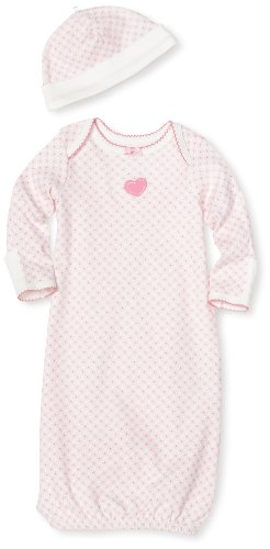 Little Me Baby-girls Newborn Sweetie Monkey Gown and Hat, Pink Print, 0-3 Months