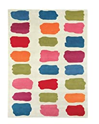 Area Rug, Beige Kids Paint Colors Squares Soft Wool Carpet, 3\' X 5\'