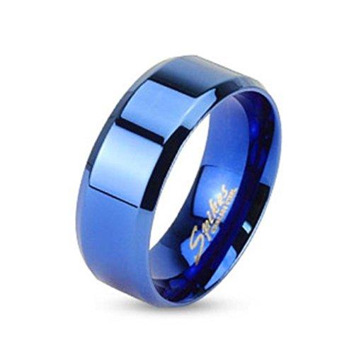 Paula & anello in acciaio con rivestimento blu Fritz larghezza 6 mm Flat Band smussata bordo anello misure: 47 (15) - 69 (22), Acciaio inossidabile, 23, cod. R084-6-11