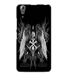 PrintDhaba Skull and Bone D-2197 Back Case Cover for LENOVO A6000 (Multi-Coloured)