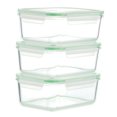 Kinetic GoGREEN Glassworks Series 6-Piece Rectangular Oven Safe Glass Food Storage Container Set 54-Ounce Each (3 Containers and 3 Lids) 01328 (Oven Safe Glass Tupperware compare prices)