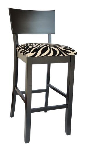 Powell Furniture Black Bent Back Bar Stool with Zebra Pattern Fabric