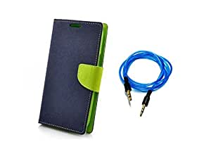 Kerbs Combo Pack fancy flip diary/case/cover for mercury for Micromax Canvas Selfie Lens (AQ345) bluegreen and blue auxiliary cable