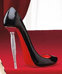 Shoe Wine Bottle Holder - Black with Red Sole