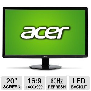 "Acer S200HL Abd 20"" Class Widescreen LED Monitor"