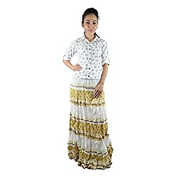 ShopMore Floral Printed Full Skirt(White_Free-Size)