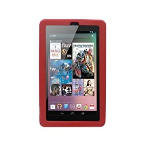 Google Nexus 7 Tablet Silicone Skin Case Gel Cover - Red