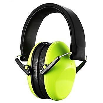 Homitt Kids Noise Cancelling Ear Muffs, Foldable Hearing Protection Ear Defenders for Children - Green