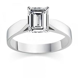 Diamond Manufacturers, Damen, Diamond Manufacturers, Damen, Verlobungsring mit 0.40 Karat F/IF feinem und zertifiziertem Smaragddiamant in Platin, Gr. 66
