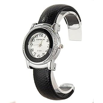 Fashion Women's Cuff Watch, Round Case Black Color Pu Leather Band Bling Fashion Crystal Elegant Women Lady Bracelet Quartz Watches