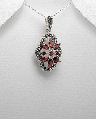 Elegant Sterling Silver Flower Pendant with Gem Stones & Marcasite-Gems Couture