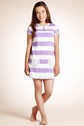 Older Girls' Round Neck Stripe Nightdress
