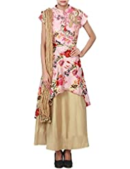 Gold And Pink Floral Printed Suit Enhanced In Peacock Motif Embroidery