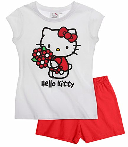Hello Kitty Pyjama 2014 Kollektion 86 92 98 104 110 116 122 128 Schlafanzug Kurz Mädchen Shorty Shortie Kurz L2 Weiß-Rot (122 - 128)