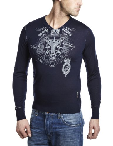Replay UK2851 Mens Jumper Navy XX-Large