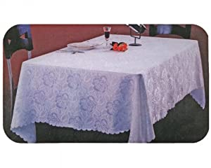 Damask Jacquard Tablecloth (60x90, White)