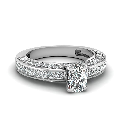 Fascinating Diamonds 1.75 Ct Cushion Cut Diamond Engagement Ring Pave Set Cut:Very Good Si2-H 14K Gia