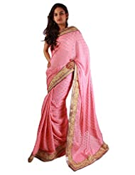 Casual Wear Light Pink Saree Embroidery Stone Work Georgette Fancy Sari