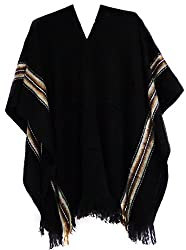 Gamboa Alpaca Rustic Poncho - Black (Black)