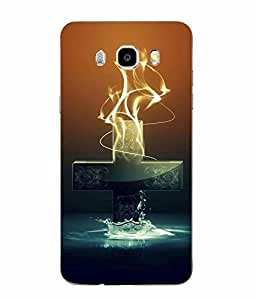 Snazzy Religion Symbol Printed Blue Soft Back Cover For SAMSUNG Galaxy J5 - 6 (New 2016 Edition)