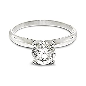 Diamond Studs Forever 1/4 Carats Solitaire Diamond Engagement Ring GH/SI2-I1 14K White Gold by Diamond Studs Forever