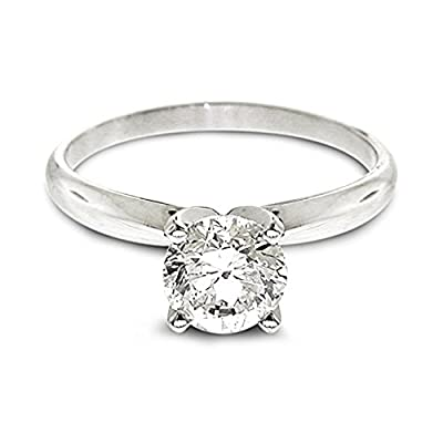Diamond Studs Forever - 3/4 Carats Solitaire Diamond Engagement Ring GH/I1-I2 14K White Gold