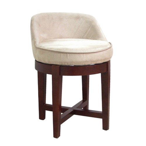 Cheapest Price! Elegant Home Fashions Swivel Chair with Beige Faux-Suede Upholstery, Cherry