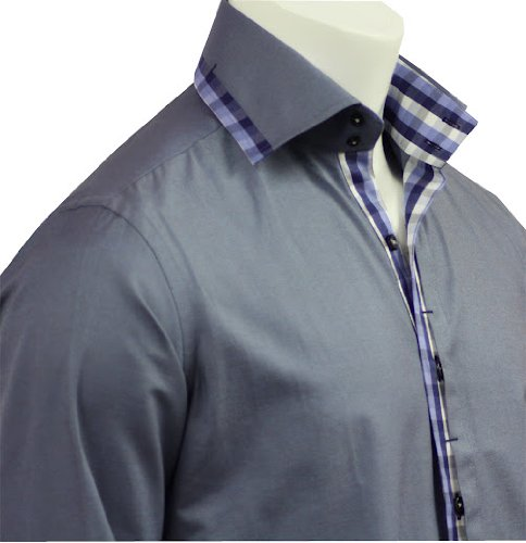 New Style Men's Formal & Casual Italian Design Shirts Blue Colour Slim Fit S-4XL