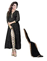 Clickedia Women's And Girls Beautiful Black Center Cut Churidaar Salwaar Suit With Embroidery Work On Churidaar...