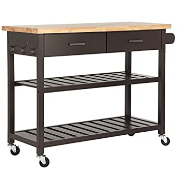 Homegear Open Storage Kitchen Storage Cart Island with Rubberwood Cutting Block Brown
