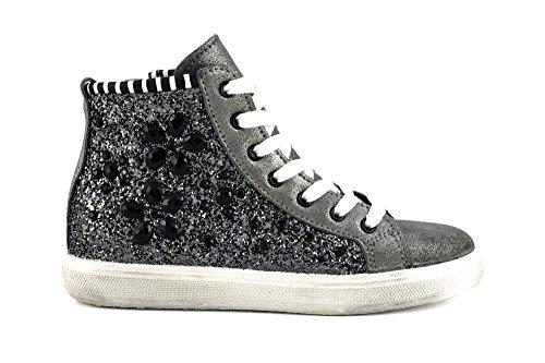 CAFÈ NOIR Sneaker donna running camoscio glitter P/E 2016 cod. DF921 (39, NERO/ASFALTO)