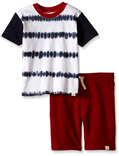 Burt's Bees Little Boys Organic Tie Dye Tee and Loose Pique Short with Stripe Set, Midnight, 6