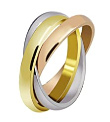 buy Stainless Steel Tri Color Gold,Rose,Silver Tone Interlocked Rolling Wedding Band Ring Women,Size 9