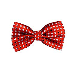 Poprin Red With Mini Flower Bow Tie