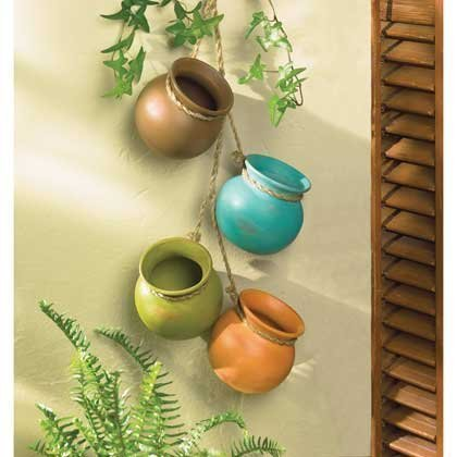 Gift & Decor Hanging HERB Dangling Mini Pots Wall Pottery Southwest Mexican (Pottery Kitchen compare prices)