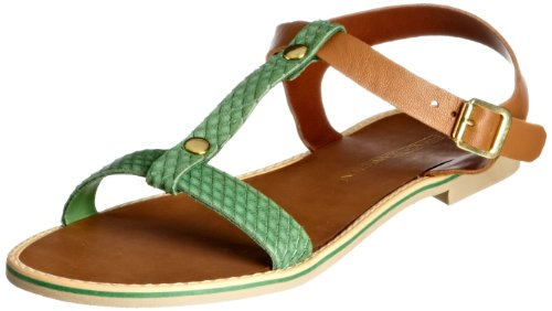 French Connection Women's Perry Tan and Green T Straps 2905536109 6 UK