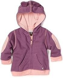 Babysoy Baby-Girls Newborn Soft Fleece Hoodie Sweater, Eggplant, 12-24