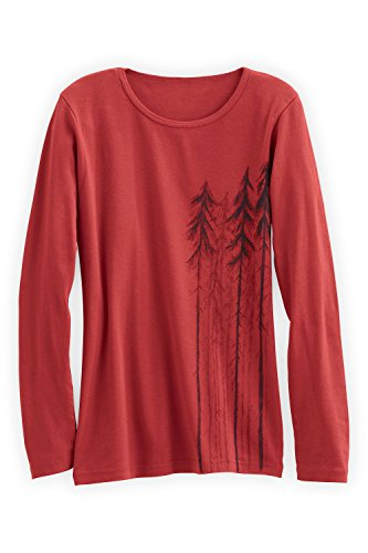 Green 3 Apparel Long Sleeve Trees Organic Made In Usa T-Shirt (L, Red) front-813443