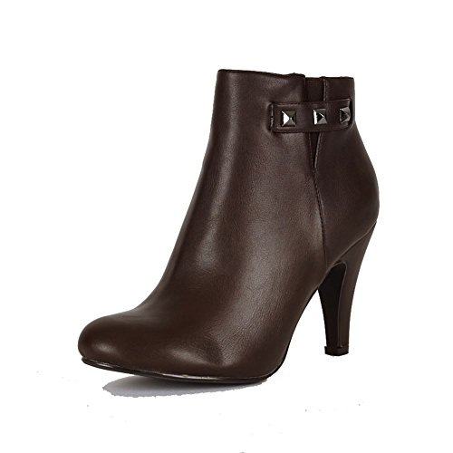 Brown medium high heel ankle boots with elastic v side and studs