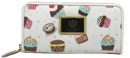 LYDC London Oilcloth Cupcakes Purse Zip Ladies Wallet Evening Bag- Beige