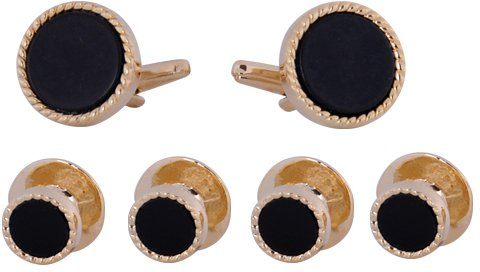 Black Onyx and Gold Plated Cufflink and Stud Set with Gift Box