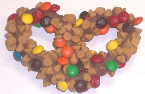 Scott's Cakes 1 lb. Milk Chocolate Covered Pretzels with M & M's & Peanut Butter Chips in a Small Fruit Tin