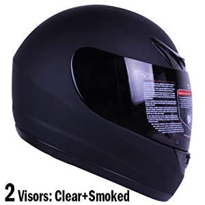 Matte Black Full Face Motorcycle Helmet DOT +2 Visor (Large) from Ivolution
